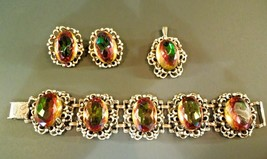 VINTAGE CHUNKY AMBER RHINESTONE PARURE EARRINGS BRACLET NECKLACE FOREVER... - $120.78