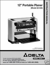 """Delta 12"""" Planer Instruction Manual Model No.  22-540 - $10.88"""
