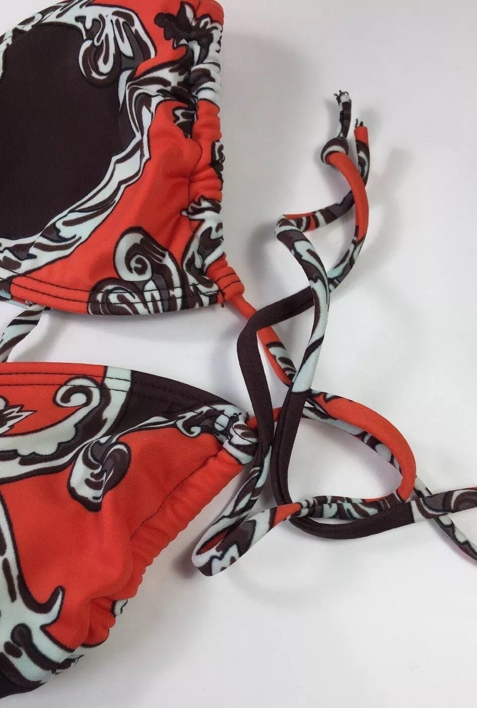 Orange Brown Floral String Bikini Rouched Swimsuit Bathing Suit Top Women's S