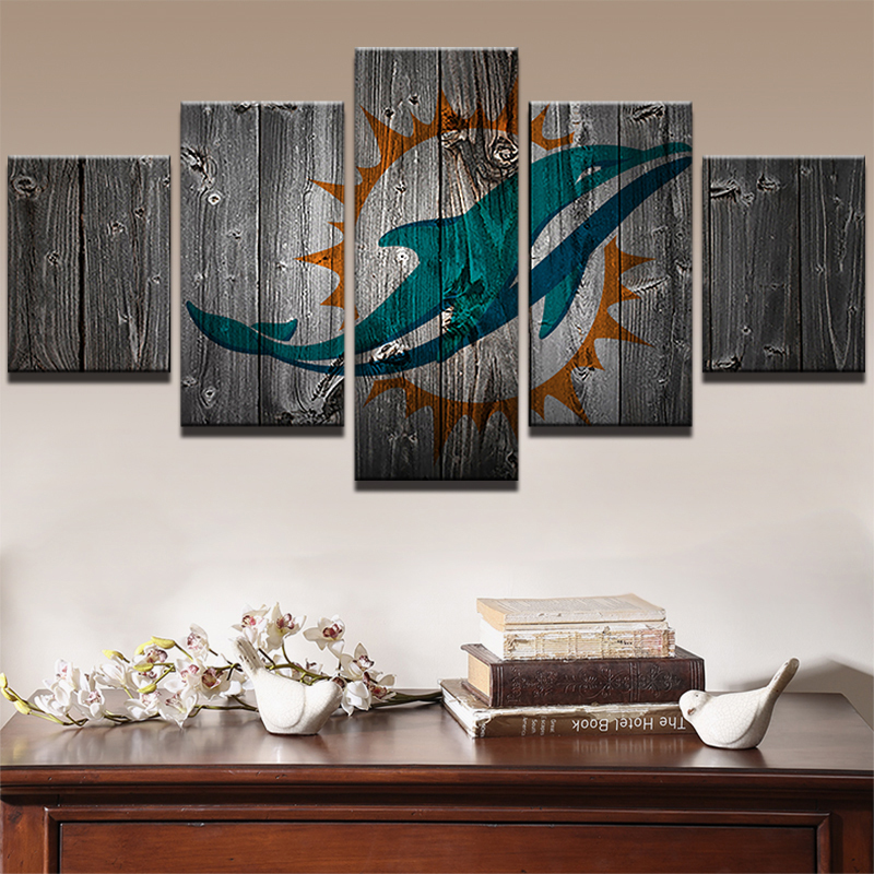 Miami Dolphins American Football 5 Piece Canvas Art Wall