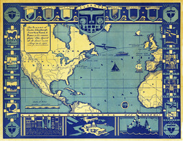 Map Charles A. Lindbergh Flight from New York to Paris 1927 Wall Poster ... - $13.00+