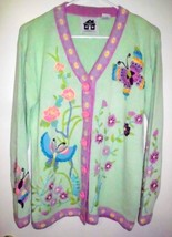 Storybook Knits Cardigan Small Sweater Butterfly Floral Embellished Green Women - $61.47