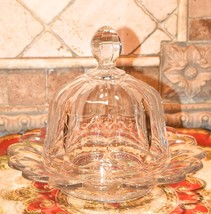 """Heisey Glass Covered Cheese Dome 8""""W Plate Round Vintage Heavy Clear Glass Rare - $99.99"""