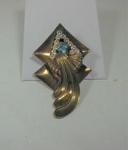 Vintage Art Deco Antiqued Gold Tone Pin Clear & Blue Rhinestones - $22.76