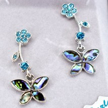 A.T. Storrs Wild Pearle Abalone Shell Pave Crystal Flowers & Butterfly Earrings image 2