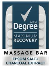 Degree Men Maximum Recovery Massage Bar Soap, Epsom Salt and Charcoal, 5... - $5.95