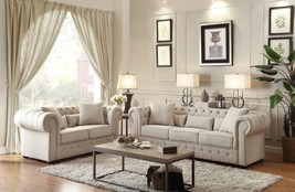 8427-3 Classic Neutral Fabric Sofa Loveseat Set Button Tuft Rolled Arm