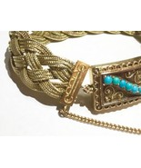 Victorian Persian turquoise clasp 14K 15k gold braided woven antique bra... - $2,595.40