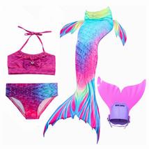 NEW !4PCS/Set Kids Fancy Mermaid Tail With Monofin  Girls Swimsuit Costu... - $35.99+