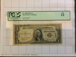 1935A Hawaii Silver Certificate $1 Dollar Bank Note PCGS Fine 12 - $45.00