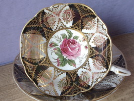 Vintage 1960's Paragon black gold and white bone china pink rose tea cup... - $137.61