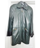 Y ALEXANDER NEW YORK Leather Coat Jacket Zip Out Lining Retro Green USA ... - $119.95