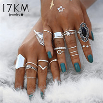 17KM® 19 pcs/set Vintage Silver Stone Knuckle Ring Set For Women Crystal... - $4.97