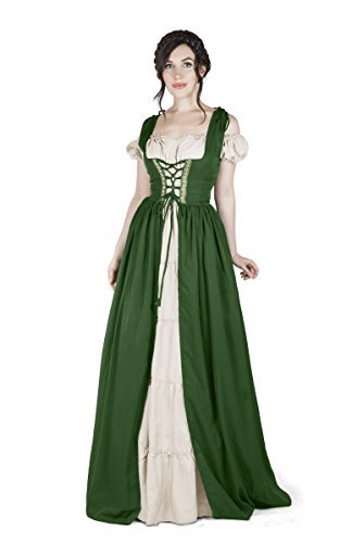 Boho Set Medieval Irish Costume Chemise and Over Dress (2XL/3XL, Hunter Green/Wh
