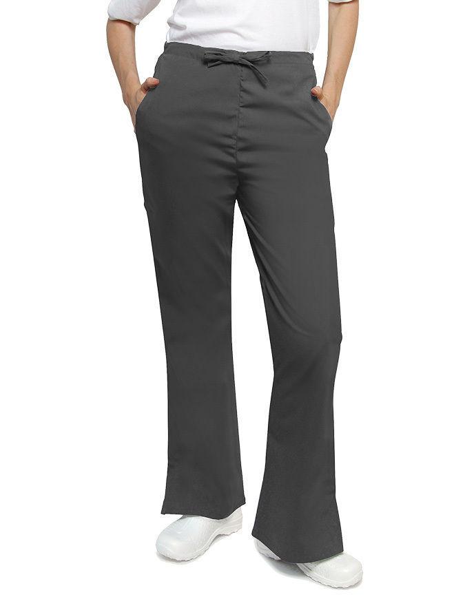 Adar 507 Drawstring Waist Uniform Flare Leg Scrub Pants Pewter XS Womens New