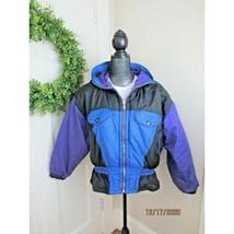 Vtg 80s 90s East West Purple Blue Colorblock Ski Puffer Coat Jacket Wome... - $49.49