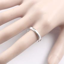 Minimalism 14K White Gold Men Engagement Wedding Ring Band Introverted Love image 6