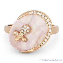 1.48 ct Pink Mother-of-Pearl Diamond Oval Charm Right-Hand Ring in 14k R... - $575.99