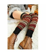 Knitting Aztec Tribal Boho Stripes Boots Leg Warmer Socks Knee High Cozy... - $8.59+