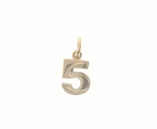 18K YELLOW GOLD NUMBER 5 FIVE PENDANT CHARM, 0.7 INCHES, 17 MM, MADE IN ITALY