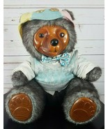 Robert Raikes Reginald 83589 Bear V Neck Sweater Bow Wood Face Paws 1986... - $179.99