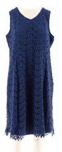 Isaac Mizrahi Scallop Lace Knee Length Dress Royal Navy 1X NEW A290853 - $37.60