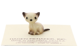 Hagen-Renaker Miniature Cat Figurine Tiny Siamese Kitten Sitting Seal Point