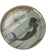 Vintage Tin Tray - Mermaids Drink Free. Nautical Home Decor - $19.95