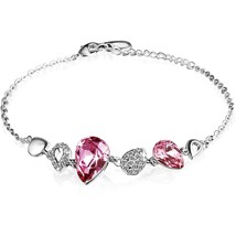 Chain Bracelet Made with Pink Crystal Cubic Zirconia 7.5 / 6.3 inches re... - $49.95