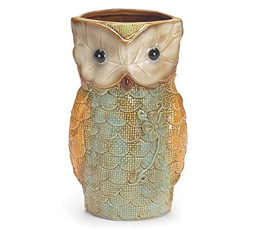 "Owl Shaped Vases, Handpainted, Ceramic, 9"" Tall"