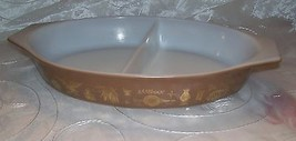 Vtg Pyrex EARLY AMERICAN Divided Casserole /Dish- Brown/Gold Eagle- 1 1/... - $6.95