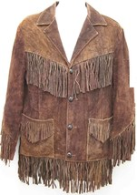 "QASTAN""s Cowboy / Western Men's Brown Suede Cow Leather Fringed Jacket FJ19 - $137.61+"