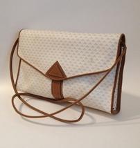 Liz Claiborne Shoulder Bag Purse Tan Leather Trim Off White Handbag Tote... - $30.00