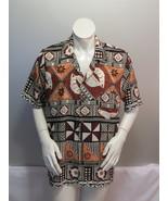 Vintage Tahiti Aloha Shirt - Tribal Pattern with Seashells - Men's Extra... - $55.00