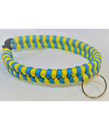 Paracord 550 Dog Collar Yellow and Blue Fish Tail Design Black Quick Rel... - $15.00