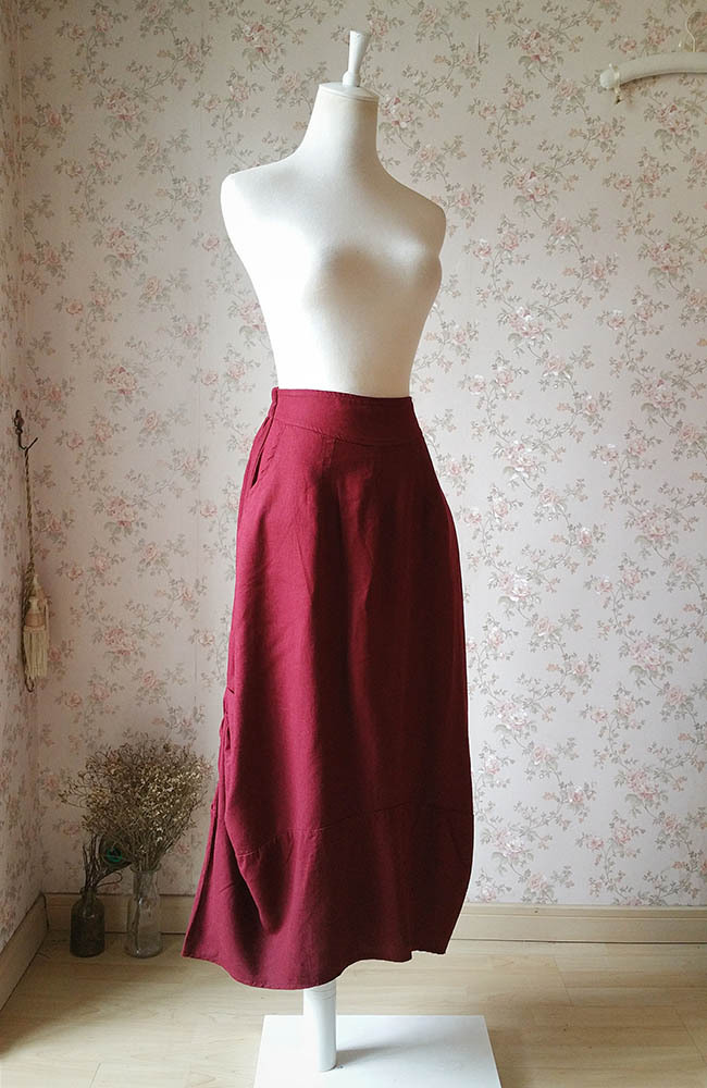 Women Burgundy Linen Skirt Ankle length High Waisted Asymmetric Skirts NWT