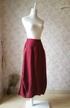 Women Long Linen Skirt Ankle length Linen Cotton Skirt Casual Skirts One Size  image 3