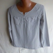 Eddie Bauer - Women's Grey Sheer Check Weave L/S Blouse - Size S - $16.95