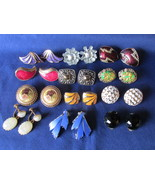 Vintage Lot of Colorful Clip On & Screwback Earrings - Enameling, Lucite, Glass  - £11.73 GBP