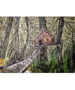 16 x 20 Original Canvas Painting...Tree House - $39.00