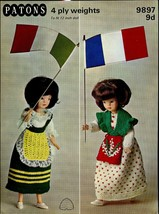 "Patons Knitting Pattern 9897 9d To Fit 12"" Dolls 4ply National Costume Series - $5.99"