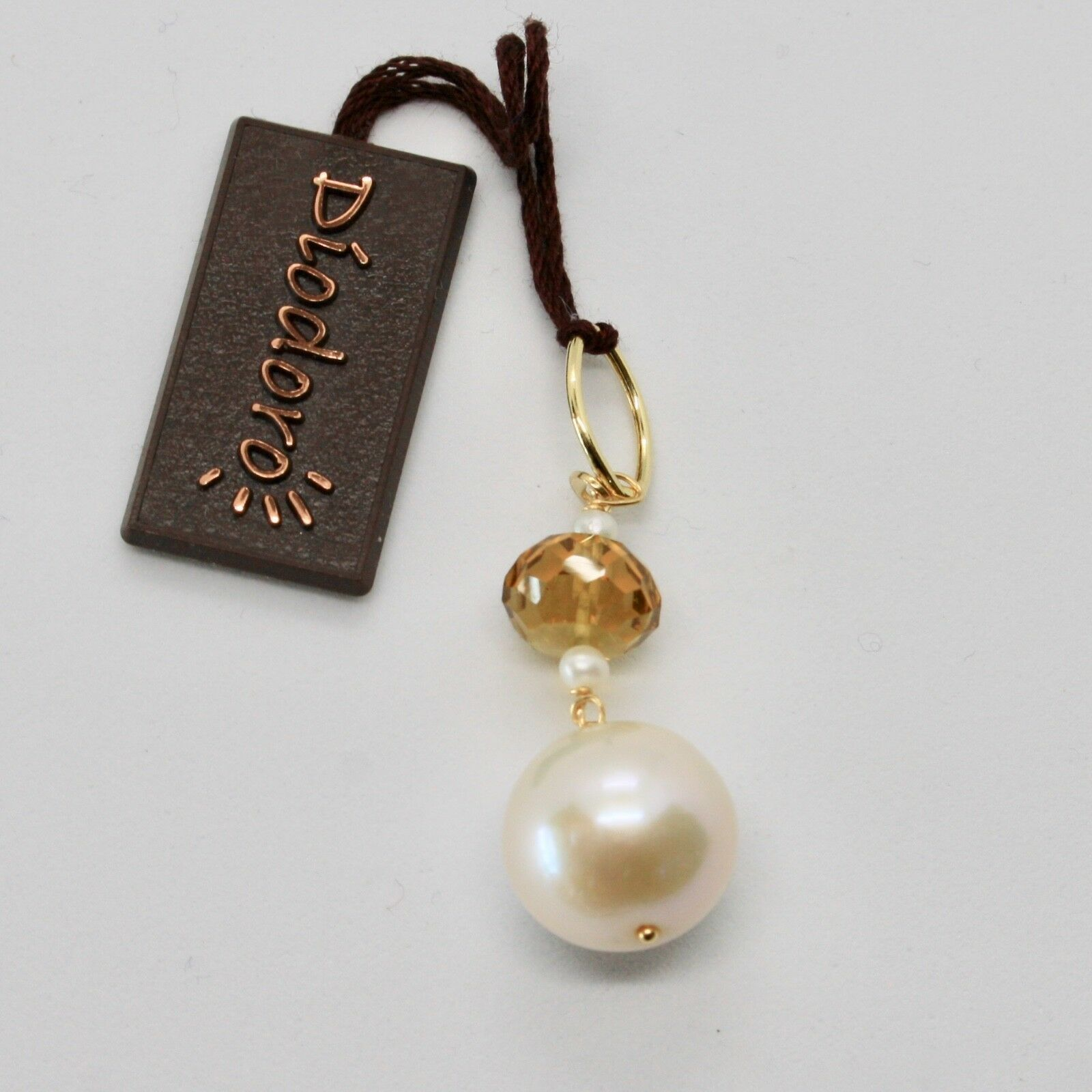 Pendant Yellow Gold 18K 750 with Pearl White of Water Dolce and Quartz Beer
