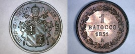 1851-VR Italian States Papal States 1 Baiocco World Coin - Pius IX - $114.99