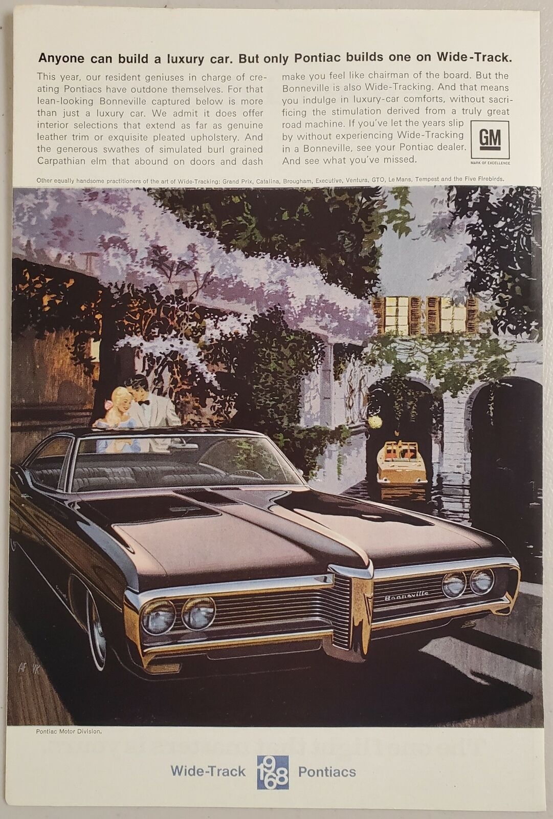 Primary image for 1968 Print Ad Pontiac Bonneville Wide-Track Cars Boat in Canal