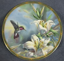Ruby Throated Hummingbird and Lilies Collector Plate Gems Of Nature Cynd... - $19.95