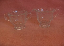 Vintage Fostoria Crystal Baroque Open Sugar & Creamer Meadow Rose Etch 328 - $44.55