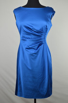 [28 40] Lrl Ralph Lauren Womens Dutchess Blue Pleated Waist Sheath Dress Sz 10P - $30.54