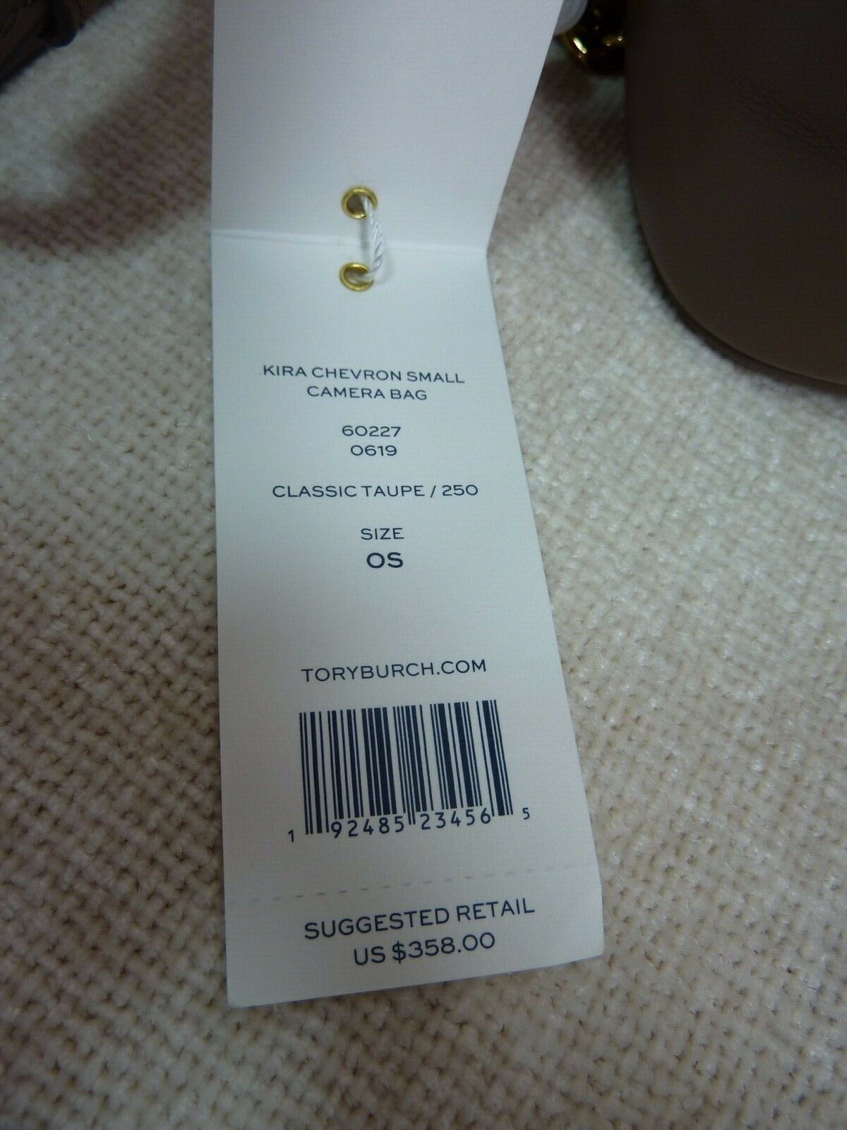 NWT Tory Burch Classic Taupe Kira Chevron Small Camera Bag $358 image 10
