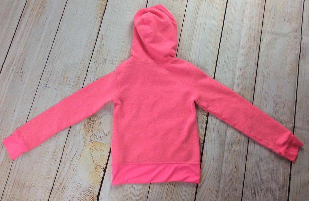 Champions Hoodie Sweatshirt Girls Size M 7/8 Flourescent Pink Athletic Pullover