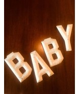 METAL LETTERS VTG * B A B Y * 4 Letters Wall NURSERY New-Born UNIQUE  #126 - $20.29
